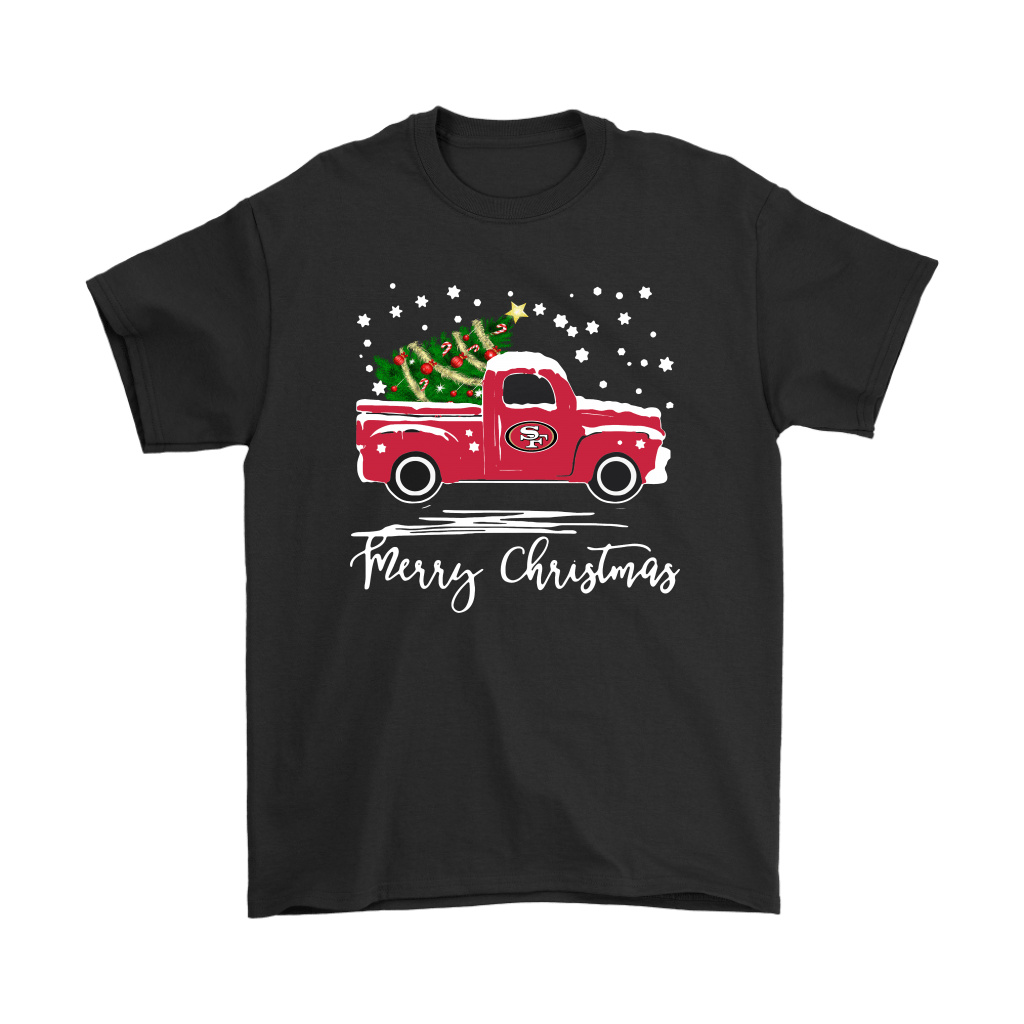 San Francisco 49ers Car With Christmas Tree Merry Christmas Shirts