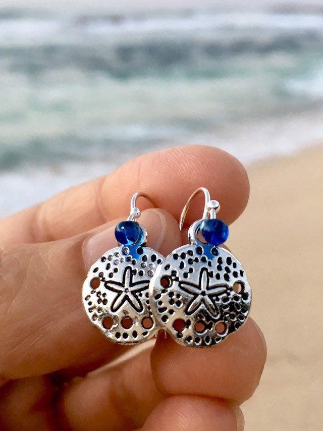 Sand dollar earrings, beachy earrings, beach jewelry, silver sand dollars, sterling silver, gift for her, gift for girl, stocking stuffers