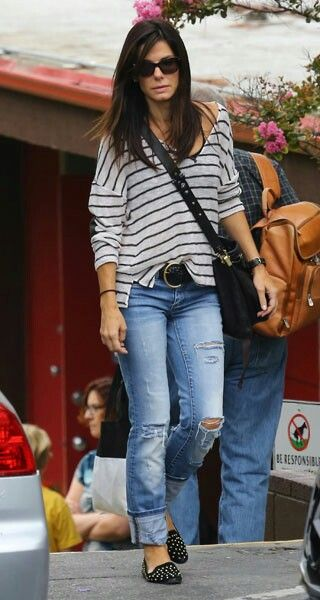Sandra Bullock = Striped tee + jeans + black studded loafers