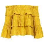 Sans Souci Mustard crinkled off-the-shoulder top (1,885 INR) ❤ liked on Polyvo...