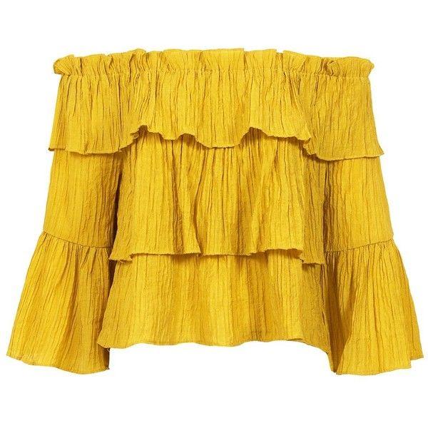 Sans Souci Mustard crinkled off-the-shoulder top (1,885 INR) ❤ liked on Polyvo…