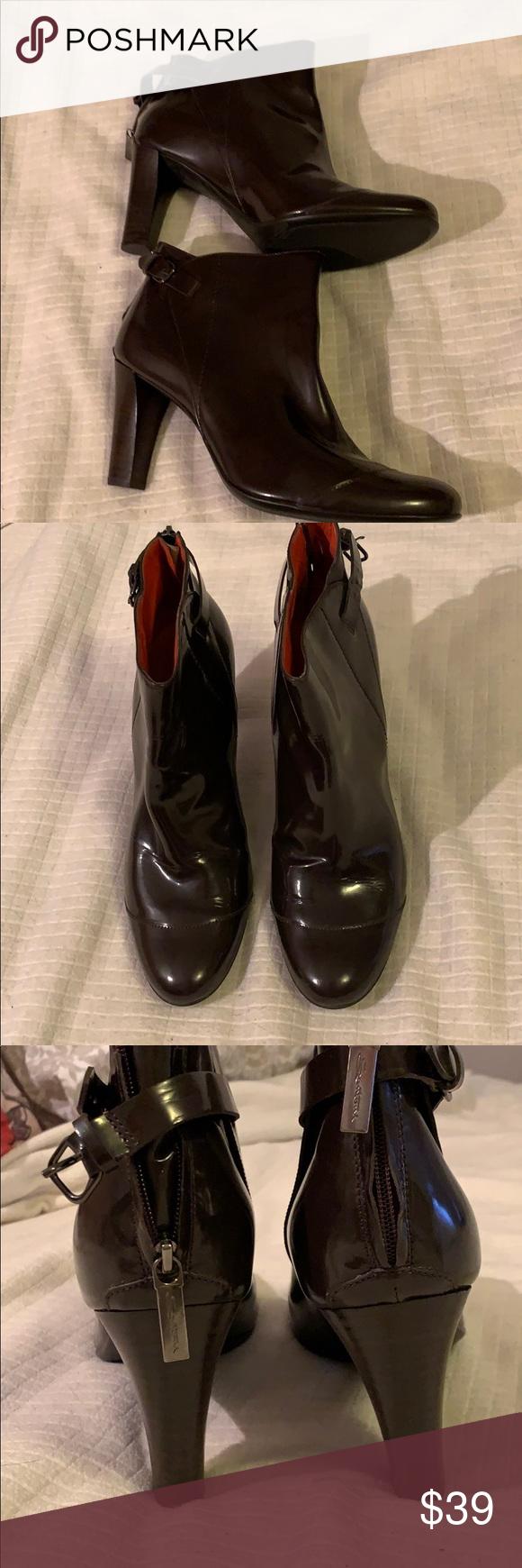 "Santoni 9 Brown patent leather 3.5"" heel booties Santoni 9 Brown patent leathe…"