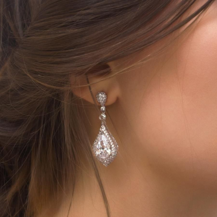 Sarina CZ Drop Earrings