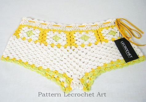 Schema uncinetto pantaloncini estivi, womens spiaggia cartamodello per pantaloncini, pantaloncini crochet pattern spiaggia, pantaloncini sexy lavorano all'uncinetto, schema uncinetto di beach wear