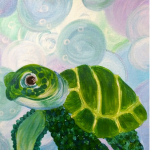 Sea Turtle Original Painting Hand painted in acrylics by yours truly.  All sides...
