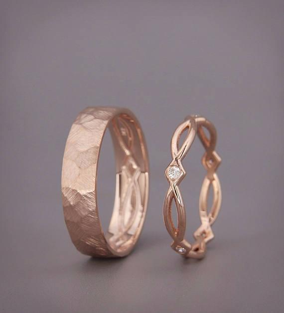 Seine und ihre keltische Hochzeit Band Set | Rose Gold keltische Hochzeit Ring Set mit Diamanten | Ewigkeit Ehering Set mit Diamanten