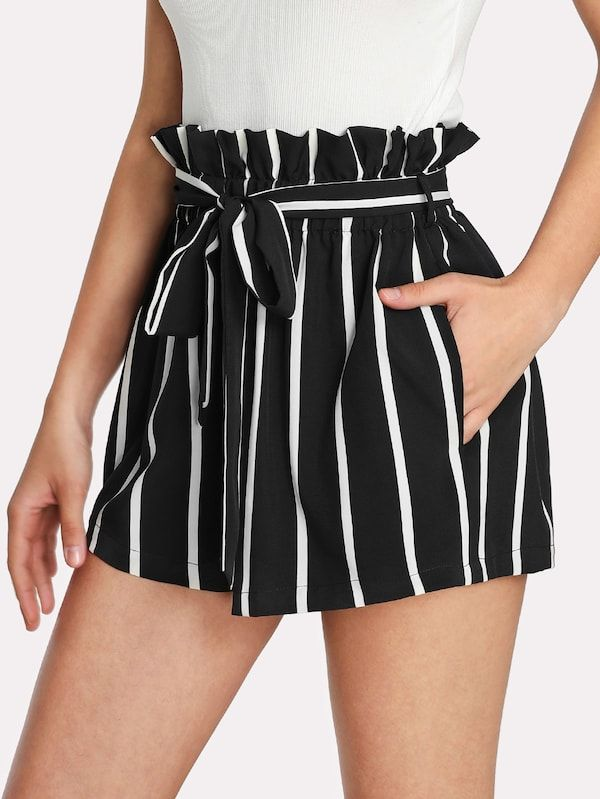 Self Tie Waist Frill Trim Striped Shorts