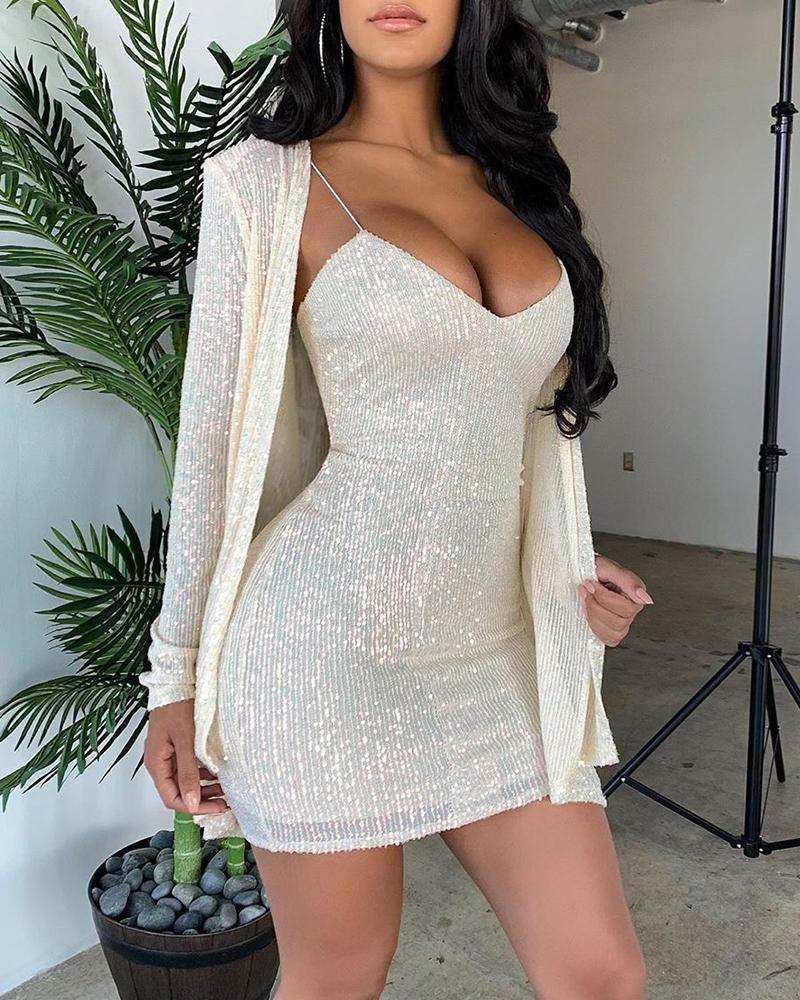Sequined Coat & Slip Dress Set