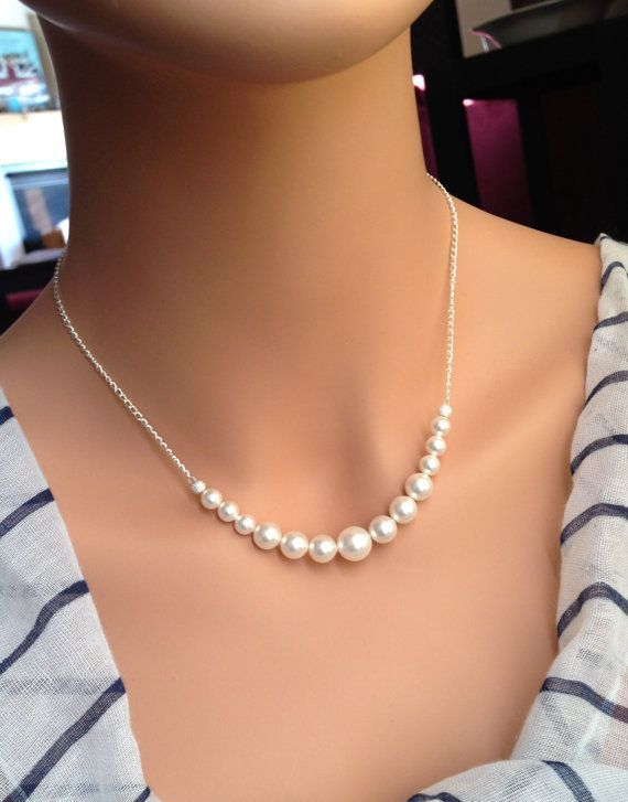 Set of 7 Sterling Silver Bridesmaid Necklaces, Backdrop Necklaces, White or Ivory Pearl Strand, Silver Necklaces 0237