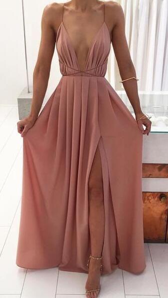 Sexy A-line Deep V-neck Long Pink Prom Dress Boho Prom Dress from modseleystore