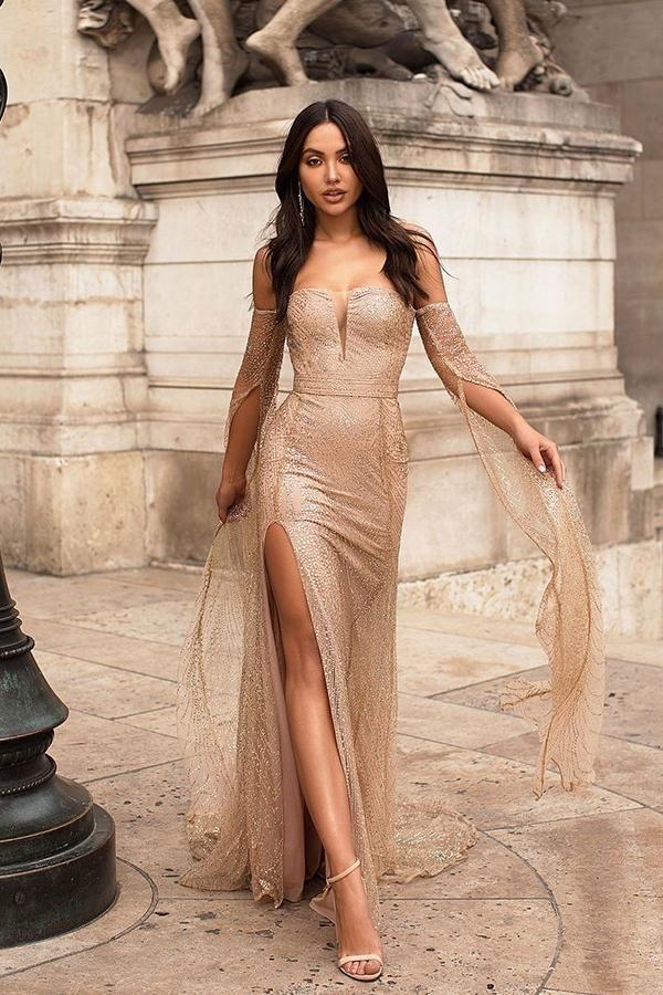 Sexy Long Sleeve Gold Split Sequins Off the Shoulder Prom Evening Dresses JS756