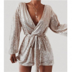 Sexy V-neck Sequins Overalls Long Sleeve Club Short romper