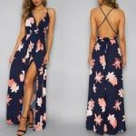Sexy Women Deep V-neck Backless Chiffon Long Dress Fashion Floral Print Split Cross Lace Up Maxi Dress Summer Sleeveless Beach Dress