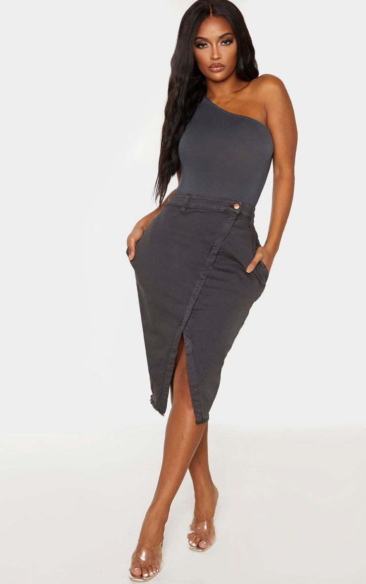 Shape Charcoal Wrap Denim Midi Skirt