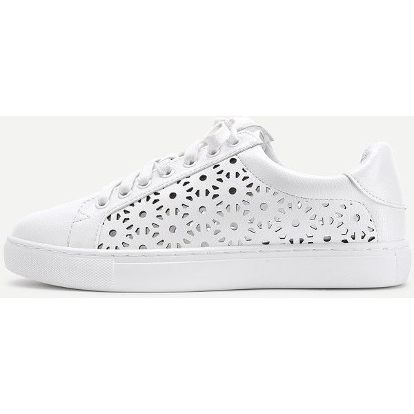 SheIn(sheinside) Laser Cut Lace Up PU Sneakers (980 UAH) ❤ liked on Polyvore f…