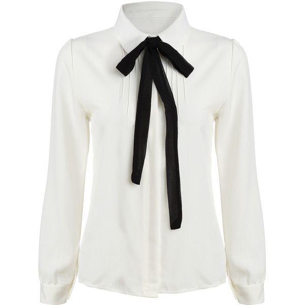 SheIn(sheinside) White Tie-neck Long Sleeve Slim Blouse (480 UYU) ❤ liked on P…
