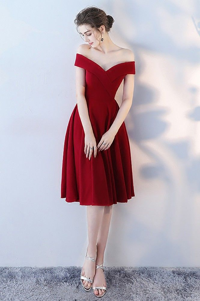 Shop Burgundy Red Off Shoulder Homecoming Party Dress online. All instock with f…