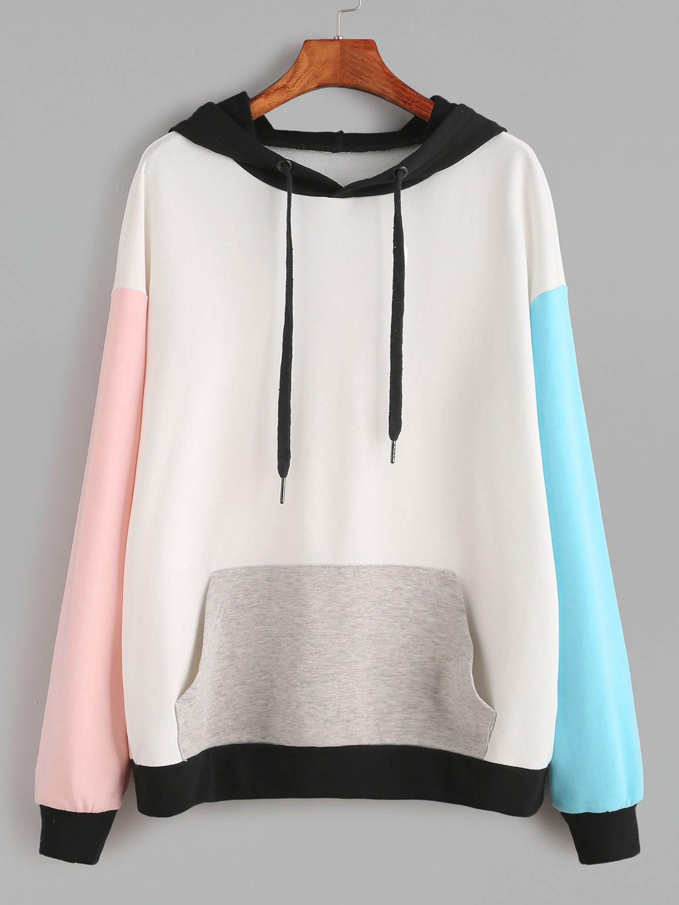 Shop Color Block Drop Shoulder Pocket Front Hoodie online. SheIn offers Color Bl…