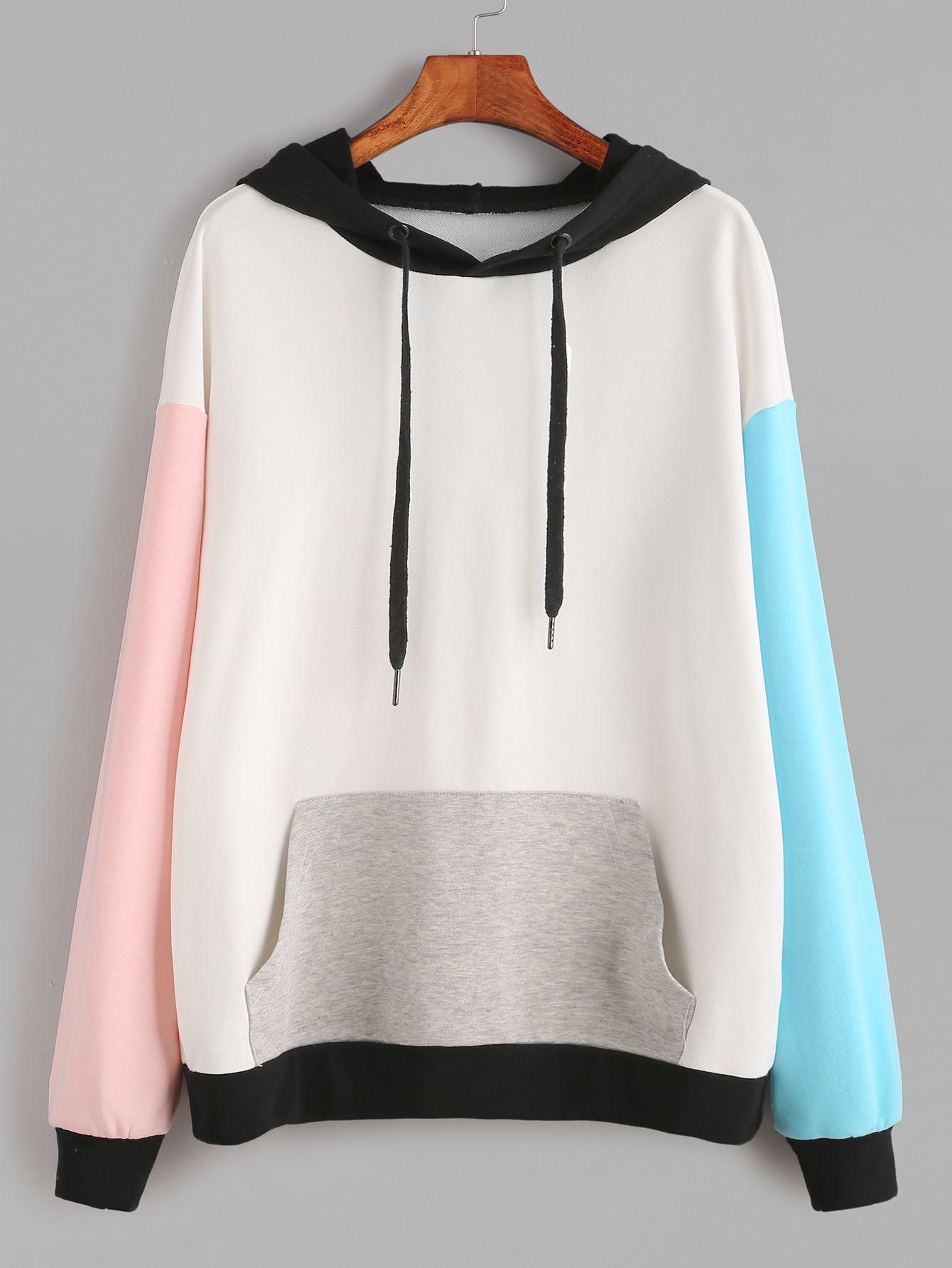 Shop Color Block Drop Shoulder Pocket Front Hoodie online. SheIn offers Color Bl…
