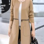 Shop Fashionmia Two Way Plain Zips Patch Pocket Collarless Coat online!❤️Get...