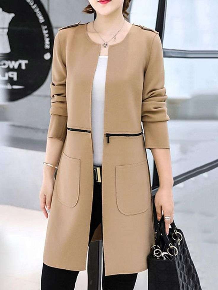 Shop Fashionmia Two Way Plain Zips Patch Pocket Collarless Coat online!❤️Get…
