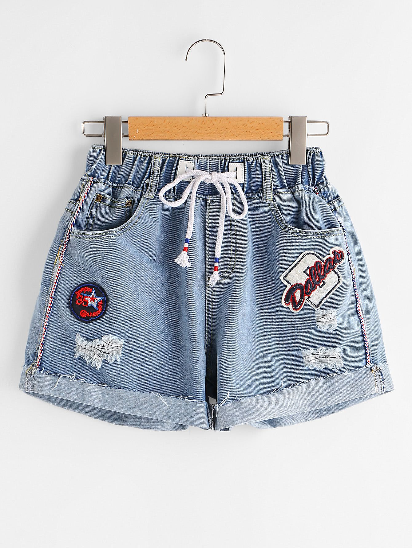 Shop Ripped Cuffed Denim Shorts With Embroidered Badges online. SheIn offers Rip…