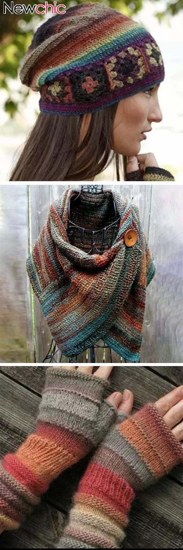 Shop Today|Women's Casual Multicolor Stripes Round Neck Scarves #breienenhaken S…
