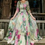 Short Sleeve Floral Print Chiffon Maxi Dress