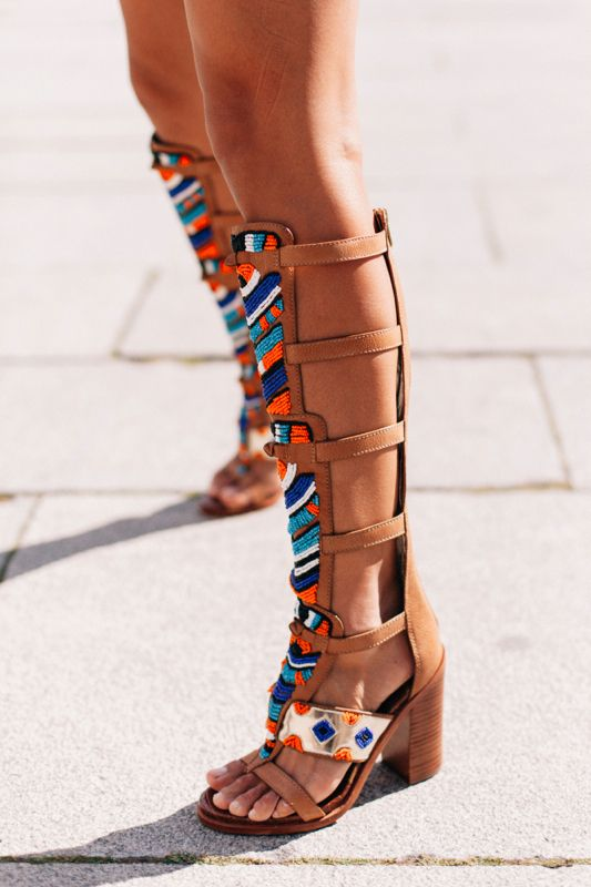 Shot on an afternoon trip to the Museum de Louvre Beaded Gladiator sandals by Sa…