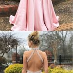 Simple A-line Prom Dresses Pink High Neck Cheap Beading Prom Dress/Evening Dress 2019