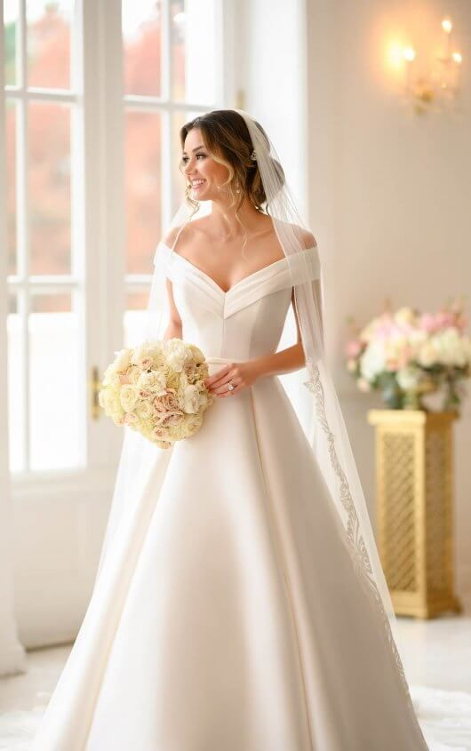 Simple Ballgown with Off-the-Shoulder Sleeves – Stella York Wedding Dresses
