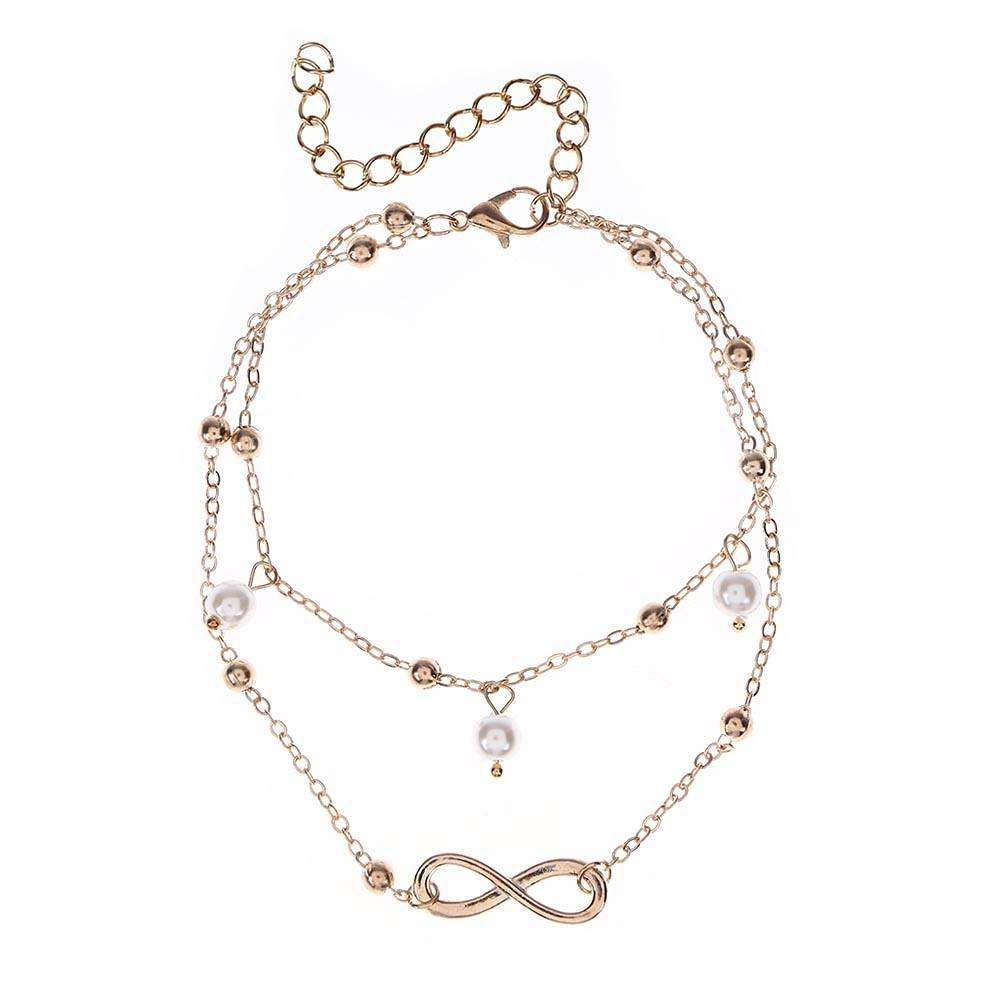 Simple Beach Women Pearl Anklet Leg Bracelet Ankle Chain Jewelry Gift/Gold