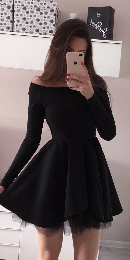 Simple Black Mini Long Sleeve Homecoming Dresses Short Prom Dress, SH479