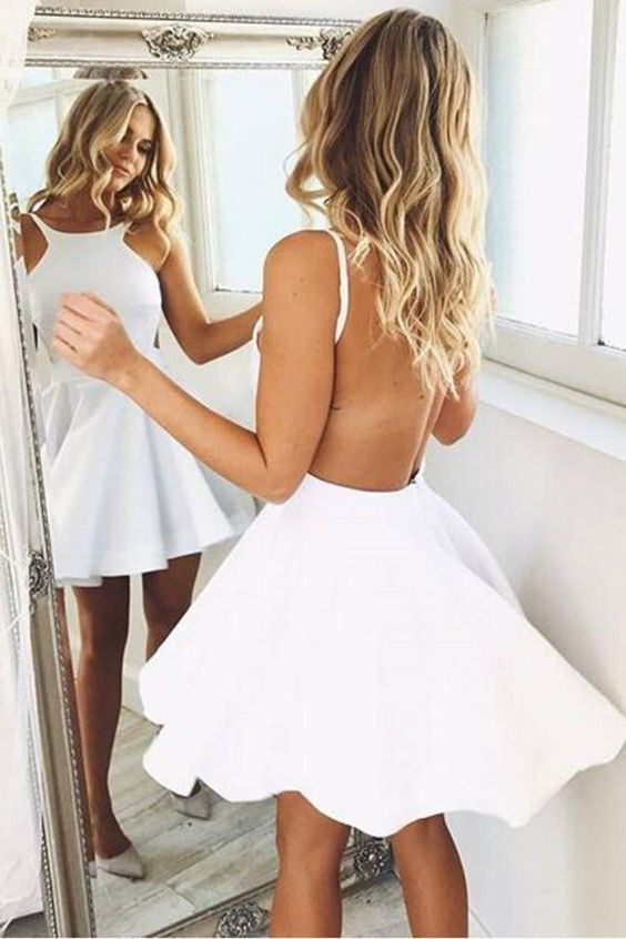 Simple white satin backless handmade A-line prom dress CR 422