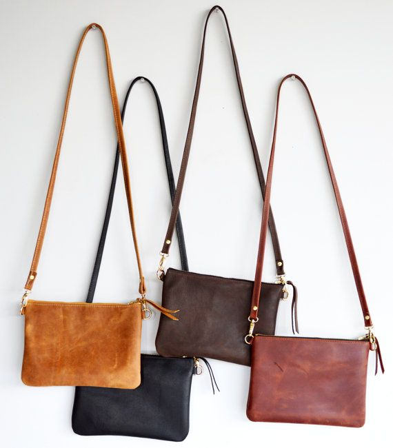 Small Leather Crossbody Bag. Minimalist Leather Purse Converts to Wristlet Clutch Bag. Choose Your Colour – Black, Toffee, Brown or Whiskey
