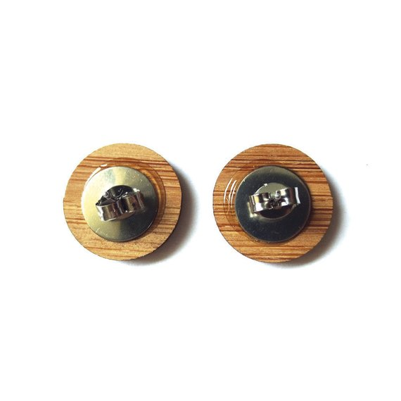 Smart Squirrel Earrings. Squirrel Earrings. Wood Earrings. Stud Earrings. Laser Cut Earrings. Bamboo