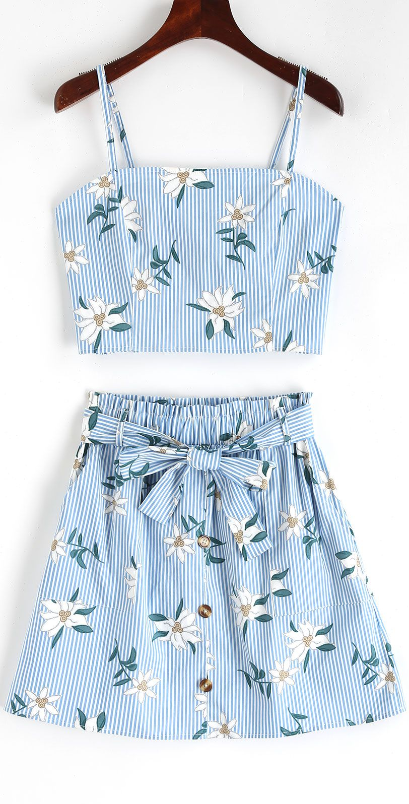Smocked Stripes Floral Top And Buttoned Skirt Set
