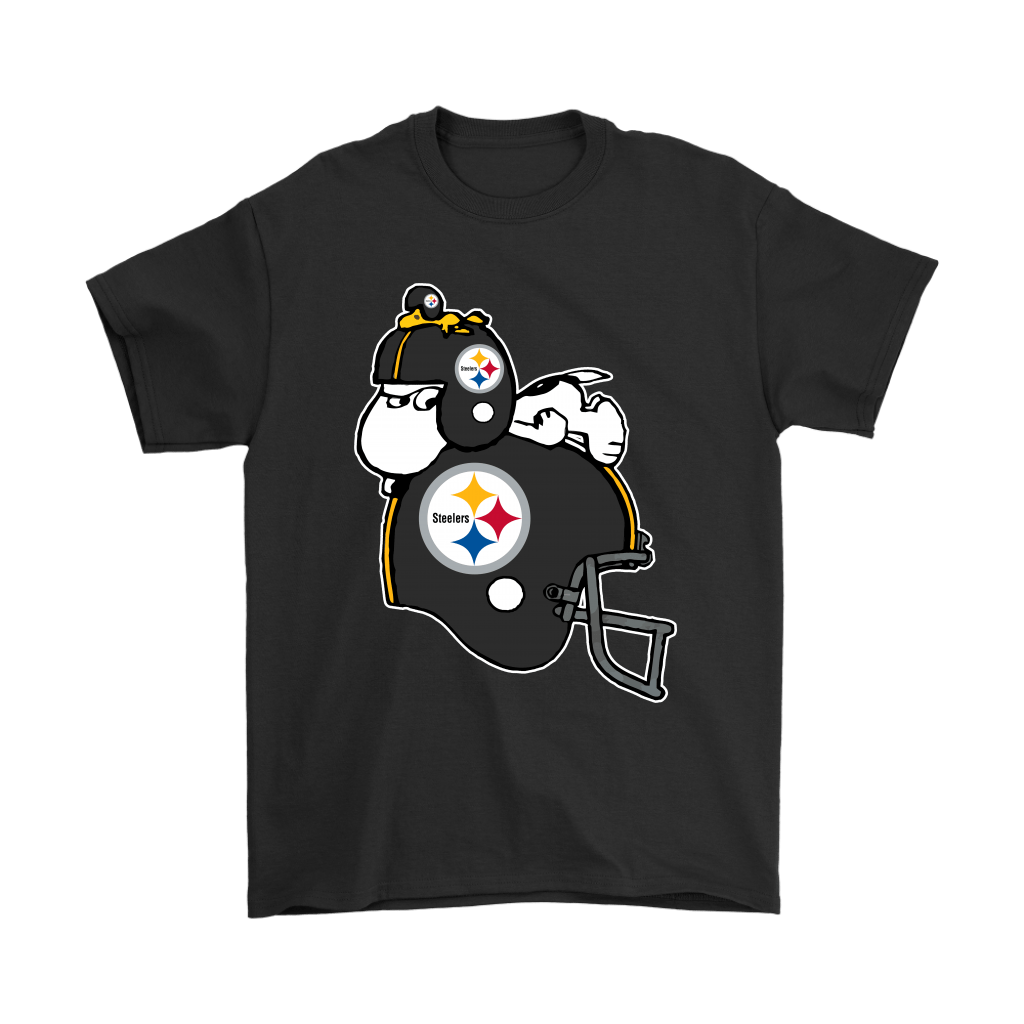 Snoopy And Woodstock Resting On Pittsburgh Steelers Helmet Shirts