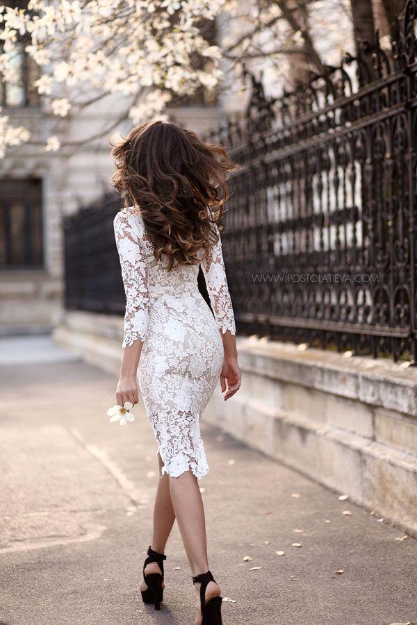 Snowy Lace-Panel Shirt Dress