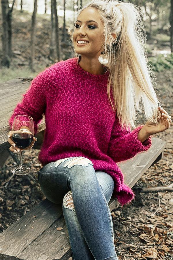 Snuggles Divine Tunic Sweater in Fuchsia