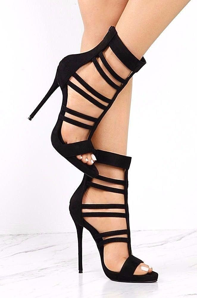 So Me Beyaz Black Strappy Bootie High Heel Single Sole Shoe