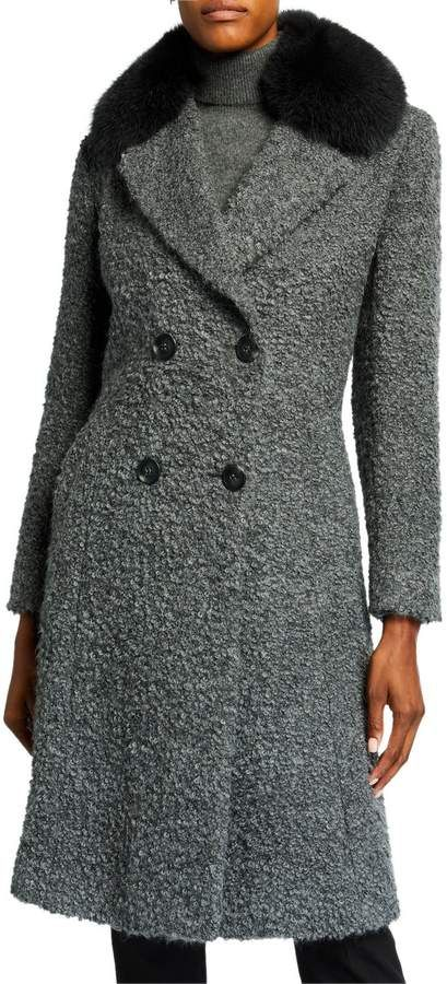 Sofia Cashmere Fox Fur-Lapel Princess Coat