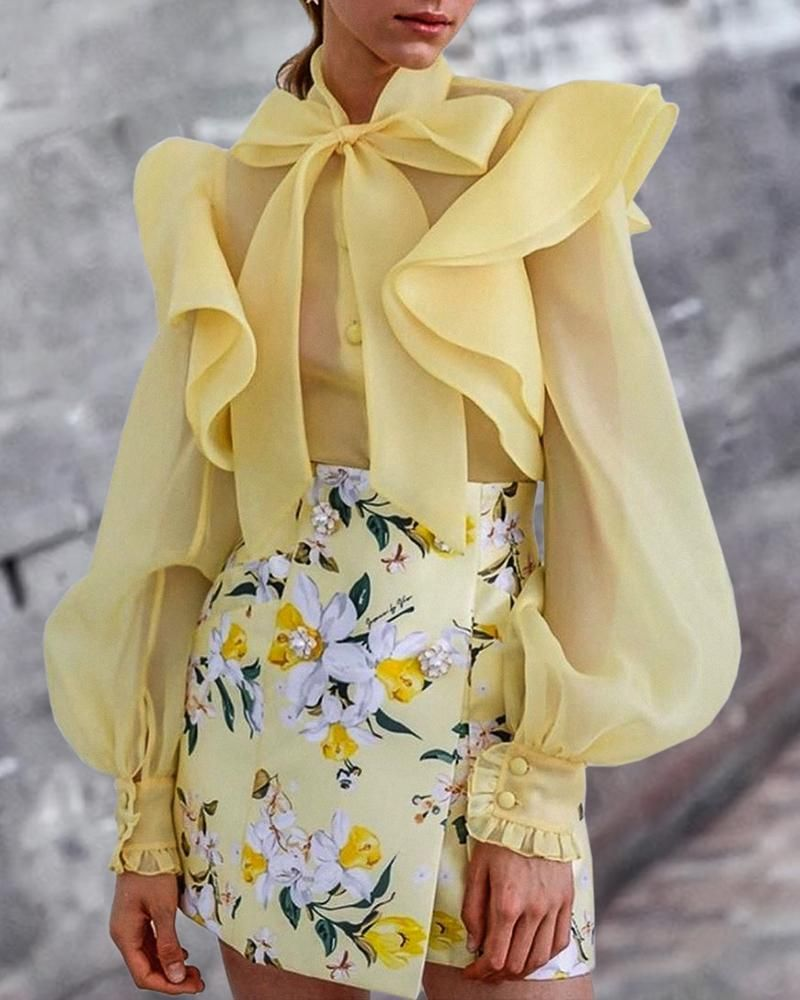 Solid Lantern Sleeve Bowknot Neck Ruffles Blouse