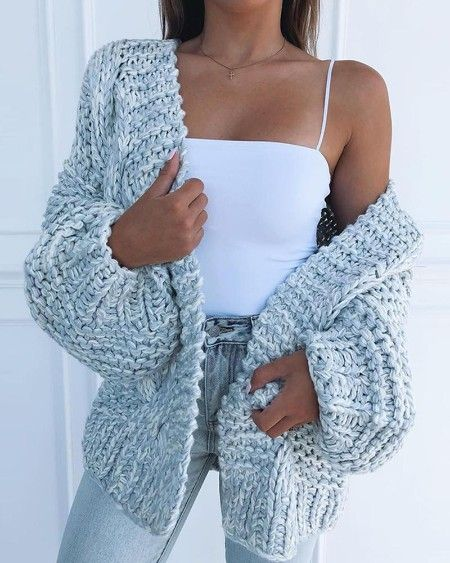 Solid Loose Knit Casual Cardigan