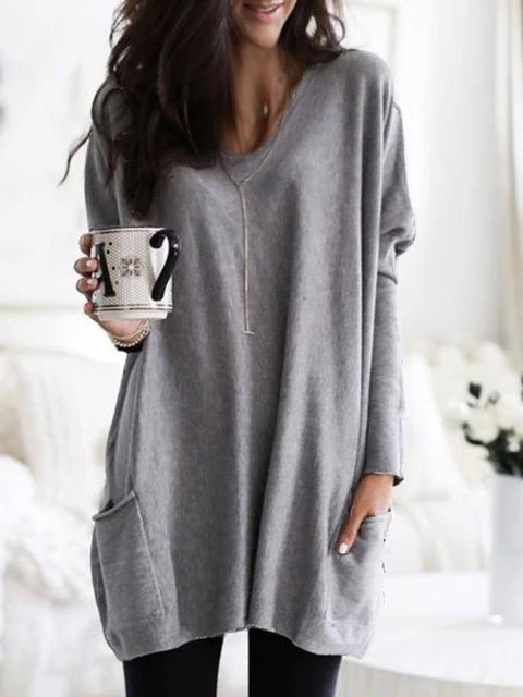 Solid V Neck Basic Tunic with Pockets