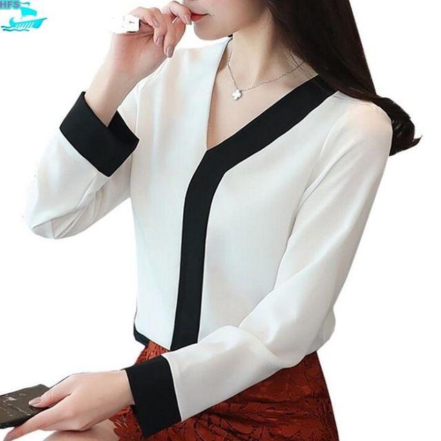 Source HFS1254B Korean Fashion V Neck Long Sleeve Women Chiffon Blouses on m.ali…