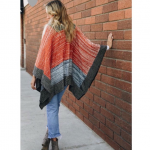 """Space Knit Color Block Poncho ✨ Acrylic ✨ 25"""" x 46"""" ✨ One Size ✨ Red..."""
