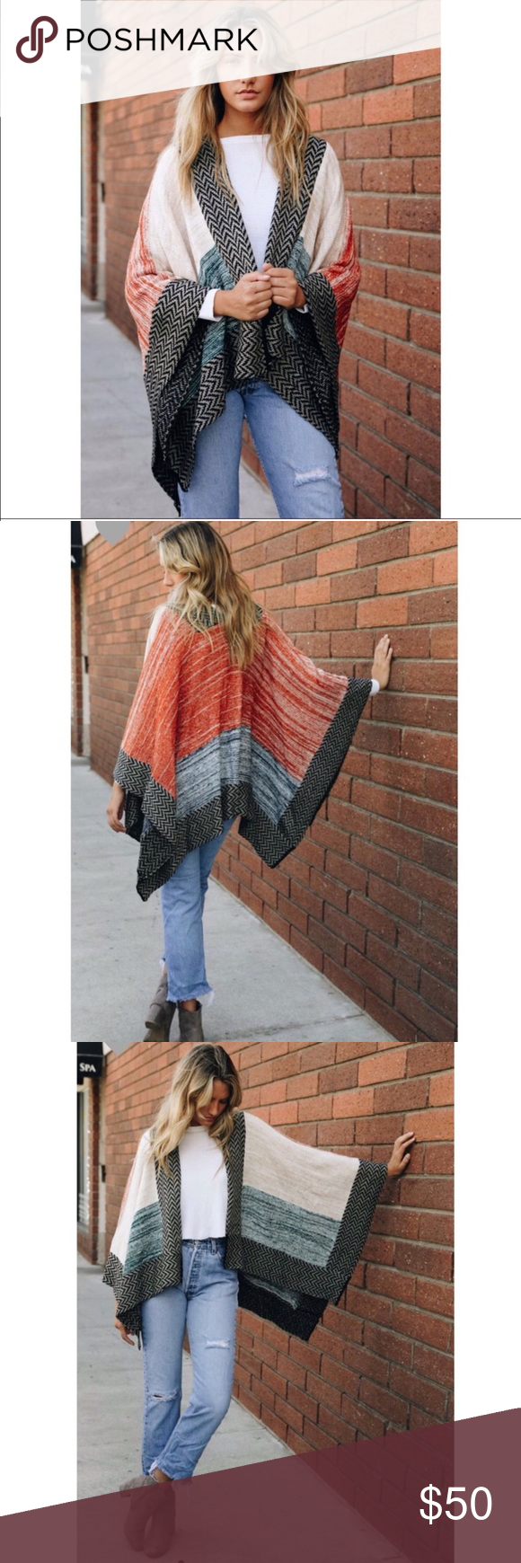 "Space Knit Color Block Poncho ✨ Acrylic ✨ 25"" x 46"" ✨ One Size ✨ Red…"