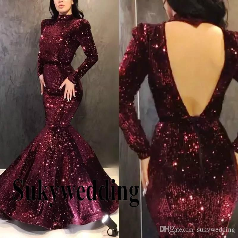 Sparkling Sequined Mermaid Evening Dresses Long Sleeves Prom Party Gowns High Collar Sexy Open Back Pageant Prom Dresses Custom Made