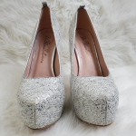Sparkly silver glitter heels Eye catching glittery heels  Silver Beautiful heel ...